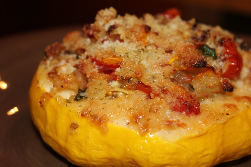 Roasted Pattypan Squash with Pancetta