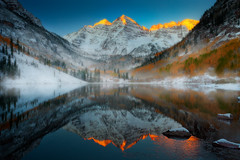 Maroon Bells Sunrise, Colorado Rockies (kevin mcneal) Tags: autumn winter snow mountains reflection fall colorado aspen alpenglow maroonbells mountainscape coloradorockies newvision peregrino27newvision