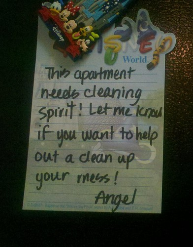 This apartment needs cleaning spirit! Let me know if you want to help out a[nd] clean up your mess! —Angel