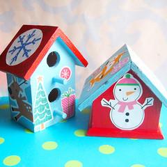 birdhouses2 (Laurie Star) Tags: christmas red house tree bunnies bird snowman aqua