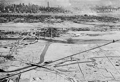 Aerial view of the Meadowlands (aka big swamps) in New Jersey minus a few thousand buildings. Midtown Manhattan and the Empire State Building in the background. 1965 (wavz13) Tags: blackandwhite oldnewyork railroads urbanwasteland swampland railroadbridges vintagenewyork historicnewyork historicnewjersey vintagenewjersey 1960snewyork oldnewjersey 1960snewjersey oldsecaucus vintagesecaucus 1960ssecaucus