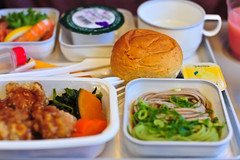 In-flight Meal : Chicken Karaage (Nazra Zahri) Tags: food chicken cup bread 50mm inflight mas nikon juice plastic malaysia meal soba appetizer nikkor airlines bun 50mmf14d 2011 マレーシア karaage d700