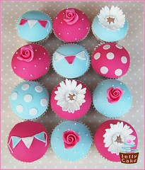 Cath Kidston Cupcakes (www.jellycake.co.uk) Tags: birthday wedding rose daisies cupcakes 18th polka sugar dots cath wiltshire bunting kidston jellycake wwwjellycakecouk