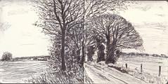 Ipsden,Oxfordshire (Martin Beek) Tags: art observation landscape artwork oxfordshire ipsden britishlandscape britishlandscapes oxfordshiredrawingpanoramasketchsketchbookartpenpencilgraphitestudywinterroadrural ipsdenlandscape201013