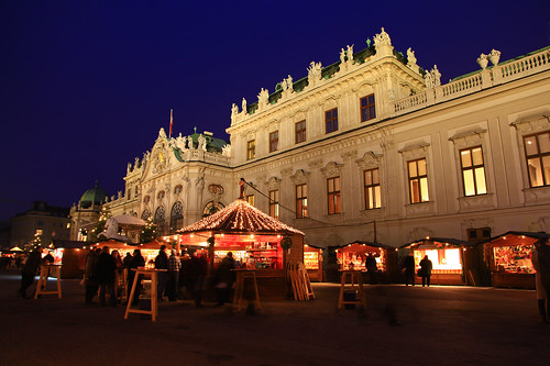 Christmas market at the Belvedere in Vienna, Austria.