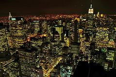 From the top of Rockfeller Center (kingdomany) Tags: city nyc usa ny newyork night america photography lights us nikon flickr empirestatebuilding skycraper birdview d90
