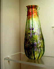 from Portland (Maine) Museum of Art Glass Collection (catchesthelight) Tags: art glass colors leaves photoshop maine shapes naturallight exhibit noflash artnouveau vase iridescent organic colourful 20thcentury vases luster artglass lustre filtered portlandmuseumofart aworkofart itsmulticolored wwwportlandmuseumorg