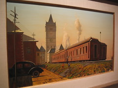Old Time Train Painting Images from the Museum (catchesthelight) Tags: railroad painting factory maine naturallight exhibit noflash collection oldcar telephonewires portlandmuseumofart itsmulticolored wwwportlandmuseumorg