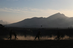 Football in the dust (The U.S. Army) Tags: christmas sunset afghanistan soldier 4id kandahar 2bct warhorse 4thinfantrydivision 2ndbrigadecombatteam fobpacemaker