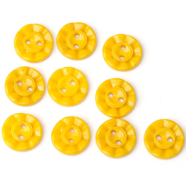 10 small yelllow vintage plastic buttons 13mm