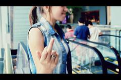 (Raphaela_R) Tags: white girl canon mall shopping eos finger ring jeans jacket 169 60d midlefinger