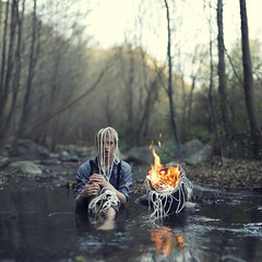 How my dreams burned away. (David Talley) Tags: california wood mountain reflection wet water mystery creek forest river pose fire boat woods rocks bokeh smoke flames hill dream surreal rope burning flame burn socal dreams wishes smokey 365 ropes southerncalifornia suspenders behindthescenes makingof tutorial fiery gasp youtube 365project boatonfire davidtalley