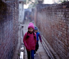 (Benjamin Skanke) Tags: portrait india brick 120 film wall kids analog vintage print children asia village pentax takumar kodak medium format 24 6x7 sikh punjab expired portra canoscan 67 120mm 105mm c41 400nc