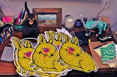 Do you want a Yellow Rabbit? (im out) (Pink Cloud1) Tags: street new york city nyc pink cloud rabbit bunny eye art yellow illustration brooklyn print graffiti wheatpaste doodle silkscreen abel bushwick macias