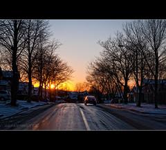 Early Sunsets during Toronto's winters (departing(YYZ)) Tags: sunset toronto canada sol car america sunrise landscape nikon horizon sigma latin dslr 1770 2012 yyz departing thornhill d90 salidadelsol f2840 departingyyz