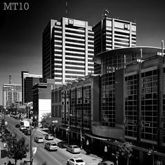 Dundas (Matthew Trevithick Photography) Tags: bw white ontario canada black london cars yoga skyline buildings studio chalk downtown matthew library pano sidewalk where ends td holistic trevithick matthewtrevithick mtphotography mt10