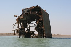 Shipwreck along the Khor al-Zubair, Iraq