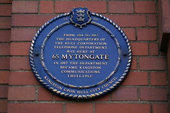 Photo of Hull Corporation Telephone Department blue plaque
