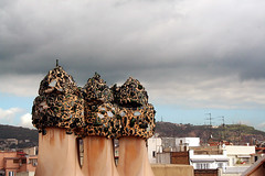Camini (laura.foto) Tags: barcelona roof chimney architecture spain barcellona casamil gaud pedreira antongaud musictomyeyeslevel1