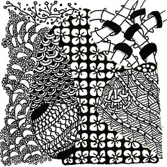 Zendoodle (mythlady/Elise Wormuth) Tags: blackandwhite bw drawing patterns tangle zendoodle painter12