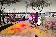 Selective Color (Levi Mecham) Tags: charity pink blue portrait color green sports yellow walk candid run jog 2012 selective kilometer canon7d tokina1116mm colorrun levimecham active:event=e001sdh2r