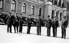 Taxi drivers Stockholm 1930s (stenaake) Tags: bw men film 1930s sweden stockholm cab taxi uniforms sverige drivers svartvit