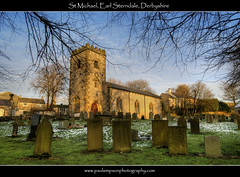 St Michael, Derbyshire (Paul Simpson Photography) Tags: uk winter england snow tower church nature grass sunshine countryside frost derbyshire peakdistrict headstones graves burial stmichael tombs midlands churchwindow villagechurch earlsterndale january2012 paulsimpsonphotography