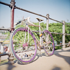 Fixie (christian.senger) Tags: road 6x6 film bike rollei analog rolleiflex vintage mediumformat germany geotagged outdoors europe dof purple kodak bokeh frankfurt spokes squareformat sl66 rims saddle lightroom ektar silverfast gettygermanyq4 christian_senger:year=2012