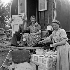 Tea Time (National Library of Ireland on The Commons) Tags: family ireland galway rolleiflex bread table fifties tea travellers may 1954 pearls cups 1950s obrien plates earrings caravan sheridan campsite connacht saucers upholstery connaught loughrea nationallibraryofireland rolleiflexcamera decoratedcaravan elinorwiltshire wiltshirecollection