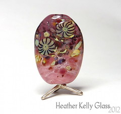 03.02.12_PinkFunnyValentine (Heather Kelly Glass) Tags: pink glass beads purple lampwork myfunnyvalentine murrini cheekycherub frittesting