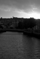 Cork (albinobobman) Tags: city ireland sunset blackandwhite water river