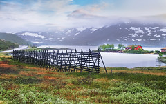 Lake Ovre Smelddalsvatnet (Simon__X) Tags: travel blue vacation sky panorama sun mountain holiday seascape tree simo