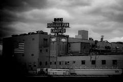 (135/366) Candy Factory (CarusoPhoto) Tags: park street city bw sign forest 35mm vintage project john photo illinois al day factory candy pentax overcast retro il company odd pan ferrara 365 everyday caruso smc mundane banal ordinary ks2 f24 366 pentaxda carusophoto smcpentaxda35mmf24al