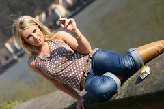 Mandy 05 (The Booted Cat) Tags: woman sexy girl model boots cigarette smoking jeans blonde demin