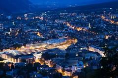 Chur (Marcel Cavelti) Tags: city night schweiz switzerland abend town nacht outdoor bahnhof explore chur tourismus blauestunde grisons bgs alpenstadt bq0a7484bearb2