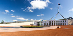 Parliament House, Canberra (russellstreet) Tags: sky cloud flag australia bluesky flags canberra flagpole parliamenthouse australianflag australiancapitalterritory