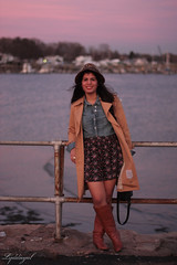 purple sunset (LyddieGal) Tags: sunset beach floral fashion vintage outfit coach style tuxedo leopard wardrobe stevemadden thrifted chambray
