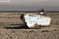 Aground (ShrubMonkey (Julian Heritage)) Tags: old abandoned beach out boat fishing rust solitude decay bleach bones bleak beached dungeness isolation washed hull bleakness wreck left derelict relic solace fe25