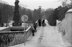 Slippery Stairs (gohjinchuan) Tags: winter stairs prague nikonf100 petn kodak400tx epsonv700 50mmf18dafnikkor ulanovdrhy13 jezdld