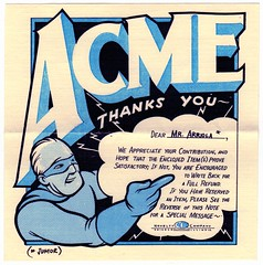 Form letter from the Acme Novelty Company (fotoflow / Oscar Arriola) Tags: chris usa chicago art america paper underground logo book design us illinois kid oscar midwest artist comic earth library acme united jimmy screen il company screenprinting novelty independent american f comix superhero co letter form states publishing selfpublished cartoonist ware newsprint corrigan quimbys smartest screenprinted