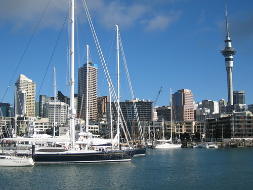city tower skyline boats harbour auckland skytower yachts