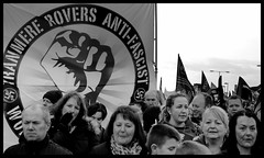 Tranmere Rovers (The Old Brit) Tags: street signs liverpool mono blackwhite candid flags demonstration strike dmo banners protests crowds protesters demonstraters antifascist marches marchers strikers publicsector tranmererovers nationalstrike pensioncutsprotests merseysidemonochrome