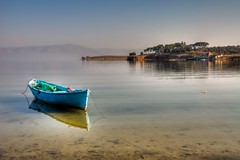 Blue Boat (Nejdet Duzen) Tags: trip travel lake turkey boat view trkiye sandal manzara gl turkei seyahat manisa salihli glmarmara