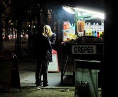 Crêpes aux Champs Elysées (grapfapan) Tags: street people paris france night dark lights couple neon pair