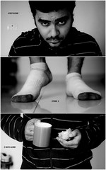 113/365. Strike 3. (Anant N S (www.thelensor.tumblr.com)) Tags: red blackandwhite orange india selfportrait feet socks fruit beard 50mm nikon triptych nikkor pune anants triptychsofstrangers addeadesokan