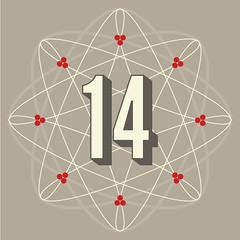 day 14 (One Little Bird Studio) Tags: christmas red geometric modern illustration festive grey design graphicdesign artwork colours calendar decorative 14 digitalart gray modernism number illustrator numeral adventcalendar vector fourteen spirograph blogadventcalendar