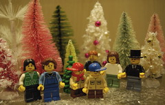 Lego minifigures in a winter wonderland