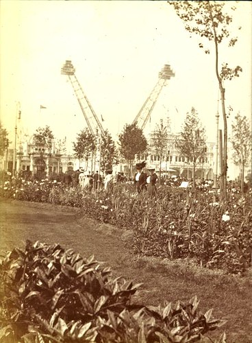 View of the gardens and Flip-Flap at the Franco-British Exhibition, London 1908