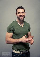 Andrew - Smiling, green shirt (davco9200) Tags: portrait man green pecs smiling shirt beard belt muscle hunk andrew jeans strong veins biceps porntrait