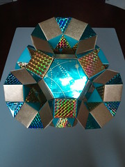 K5 Galaxy Pentagonal Cupola (Origami Tatsujin 折り紙) Tags: blue gold shiny prism papercrafts modularorigami tomokofuse geometricbeauty geometricart tetrahedralsymmetry squareflatunit regularhexagonalflatunit k5galaxystewarttoroid kunikokasahara